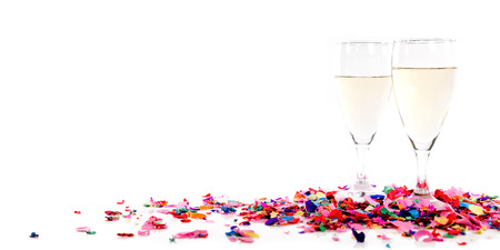 wine glass: Header with confetti and champagne glasses in front of white