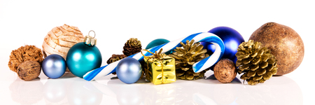 horizontal: panorama with blue christmas decoration on a white background