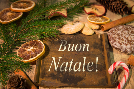 buon: christmas card with italian text and lot of candy