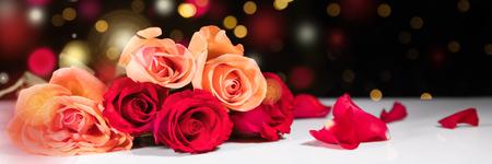 Panorama met verschillende rozen in de voorkant van zwarte achtergrond