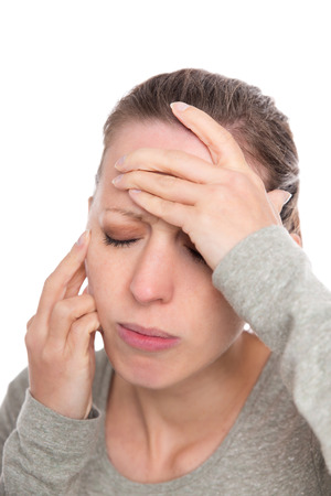 young woman with face ache, neuralgia, atypical facial pain or trigeminal nerve pain, isolated Stock Photo