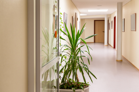 medical building: corridor in a public building or clinic with nobody in it Stock Photo