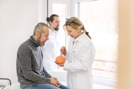 female neurologist is showing a male patient something on a synthetic brain