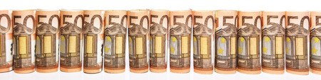 panorama with 50 euro notes in front of white background