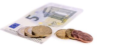 pay raise: banner or header, european currency on white, new minimum wage in germany is 8,84 euro