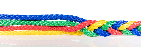 Panorama, colorful ropes are connected, concept cooperation and cohesion Stock fotó