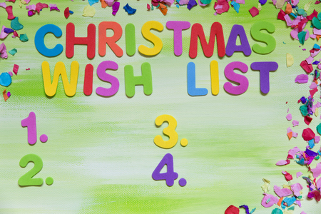 colorful letters and confetti, text christmas wish list