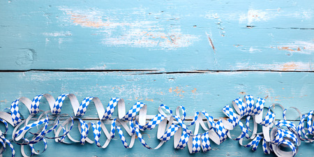 Blue Header with streamers, concept traditional bavaria Background with copyspace