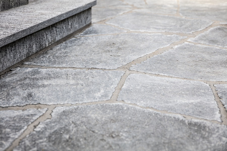 Fresh Builded Stairs And Grey Flagstone Floor With Mortar Joints Stock  Photo   87255167