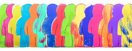 Header, colorful wooden figures in a line, concept community and crowd, isolated