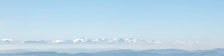 The Alps with snowcapped Mountains, alpine panorama with copyspace Stock Photo