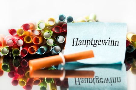 Colorful lottery tickets, ticket with german word hauptgewinn, which means jackpot