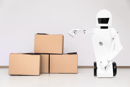 service roboter in a room with lot of boxes, concept moving company