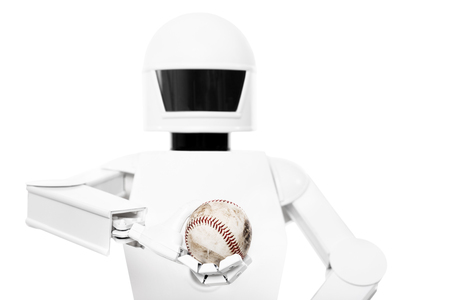 service robot with baseball in his hands, in front of white background
