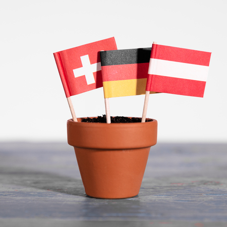 flag of the three DACH countries, germany, austria and switzerland