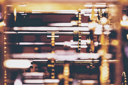 Mechanicals and Technology of a analogous clockwork, closeup Imagens