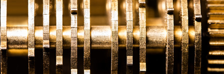 Panorama, Details of a clockwork machinery, brassy background