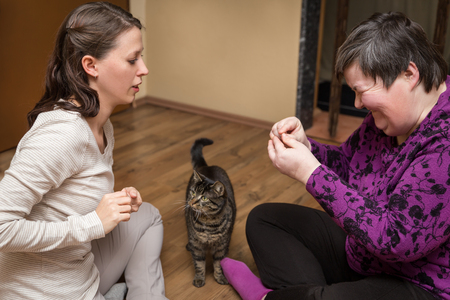 Disable woman and nurse with a cat, animal-assisted therapy