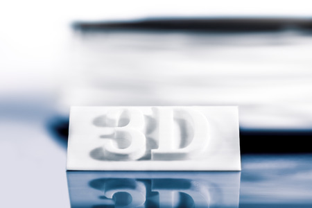 Sign with letters or 3D text is or was printed, concept modern technology 3D printer Stock Photo