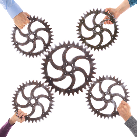 Many different hands hold gears that mesh. Group dynamics and successful teamwork, business concept