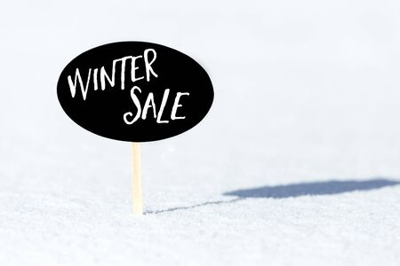 Slate in the Snow, english words Winter Sale, concept Sold out and marketing offer, copyspace