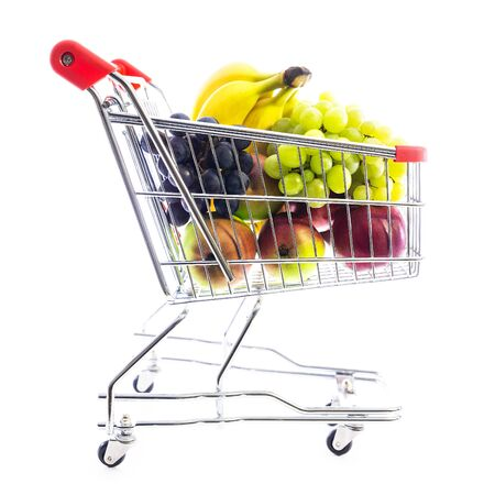 cart or shopping trolley full of various fruits; , concept online shopping grocery or mall