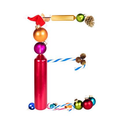 The letter E, christmas or xmas decoration alphabet, isolated on white background