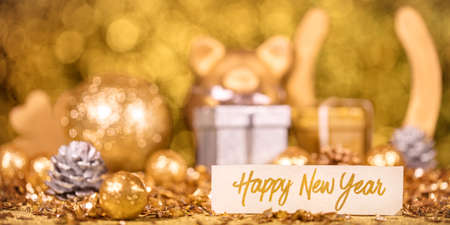panorama with golden symbols of luck, concept happy new year Stockfoto