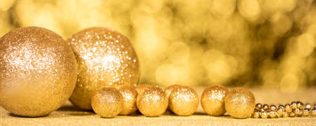 golden christmas decoration with a lot of various balls Stockfoto