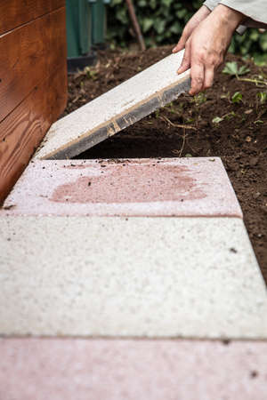 one is laying quadratic tiles in the garden, building a brick path Stock fotó