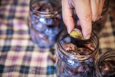 a man is filling glasses with plums, preparing for preserving the fruits, concept self supporter or gardening