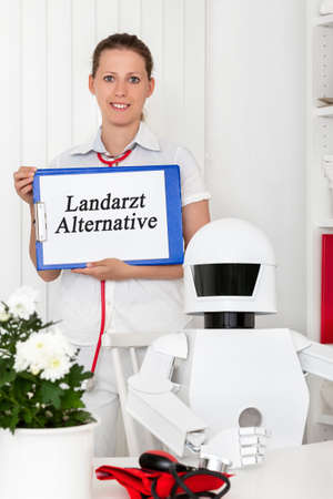 autonomous medicine robot doctor in his office is maybe the solution for the problem with the shortage of professionals, German words which meaning country doctor choice