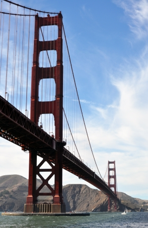 superstructure: The most famous Golden Gate bridge at San Francisco, California, USA