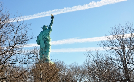 Statue of Liberty seen from the rear, New-york City, NY, USA