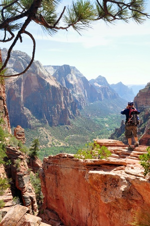 rewarded: The ascension along the rim trail of the Zion NP is rewarded with an outstanding view, Zion NP, Utah Stock Photo