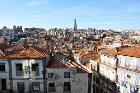 Panoramic view of the old city of Porto, from the southern side of the Douro river, Portugal photo