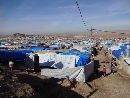 Tents in Domeez camp, near Dohuk   Duhok, Kurdistan, Iraq Editorial