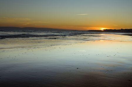 lanscape: nice sunset on bournemouth beach