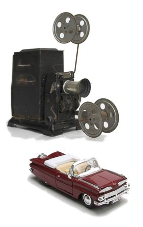 cinematograph: Old cinematograph with car model Stock Photo