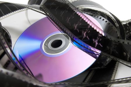 filmmaker: DVD and cinema in violet Stock Photo