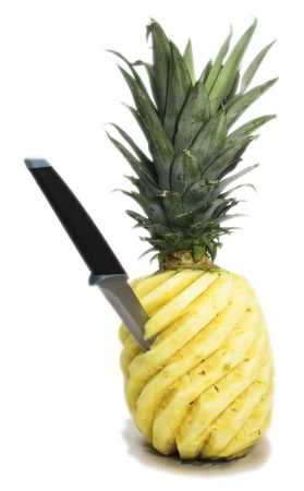 jab: Pineapple with jab knife