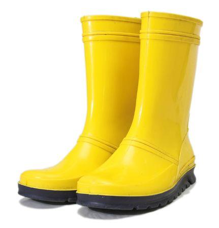 wellingtons: yellow wellingtons 3 Stock Photo