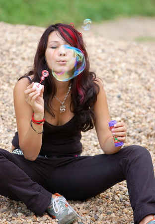 slut: Young woman with soap-bubble 2 Stock Photo