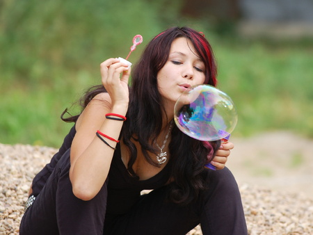 slut: Young woman with soap-bubble 3 Stock Photo