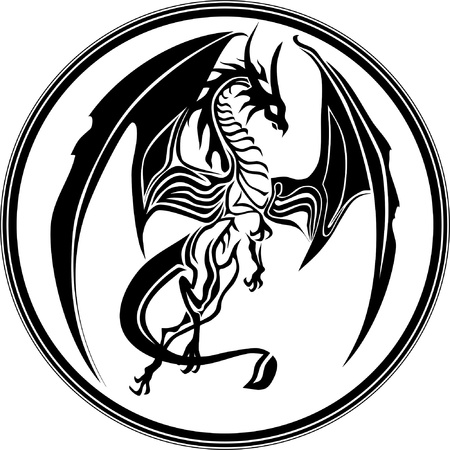 black and white dragon: dragon tribal like