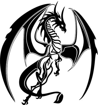 dragón tribal, como Ilustración de vector