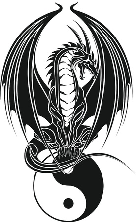 dragon tattoo design: dragon tribal like yin and yang Illustration