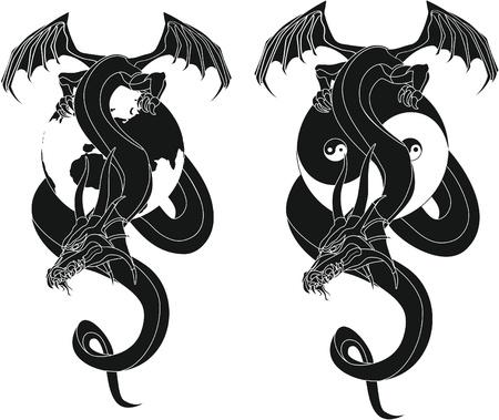 dragon tribal like yin and yang Globe Vector