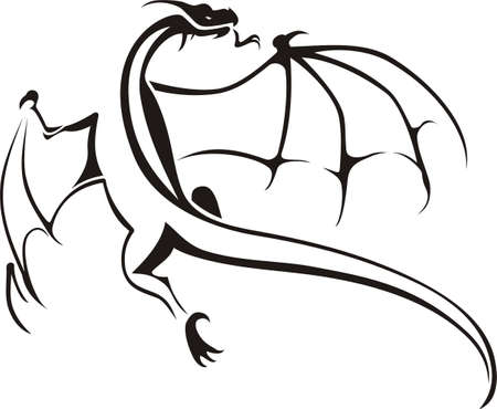 dragon tattoo: Tribal Dragons ic�ne Illustration