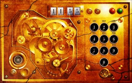 Fünf bis 12 Steampunk Uhr Grunge Lizenzfreie Bilder